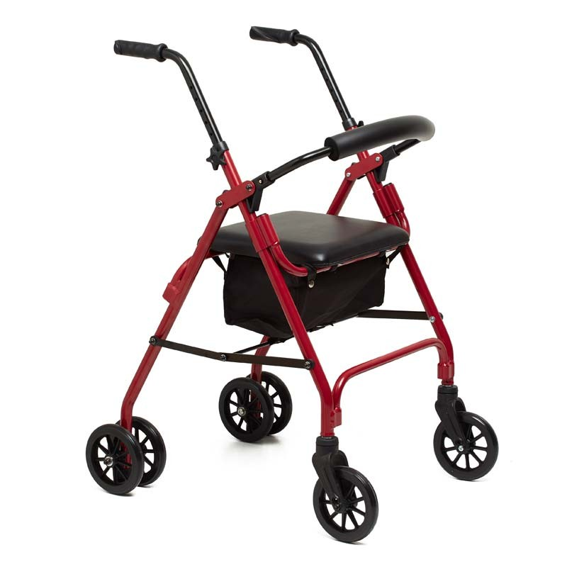 Rollator walker with two wheels and Rivoli pressure brake