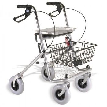 Andador rollator 4 ruedas con frenos por presión
